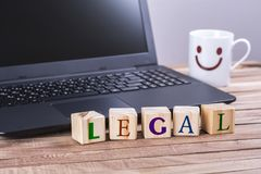 Wooden cubes legal word Stock Images
