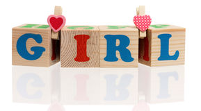 Wooden cubes with letters Stock Images