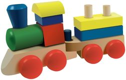 Wooden cubes locomotive toy with wagon Stock Image