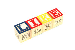 Wooden cubes made the word like Stock Photography