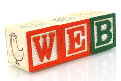 Wooden cubes made the word web Stock Images
