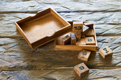 Wooden cubes with numbers Stock Image
