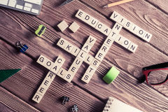 Conceptual keywords on wooden table with elements of game making Royalty Free Stock Image