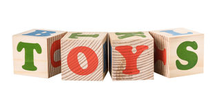 Wooden cubes. Toys word Stock Image