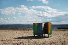 Wooden cubicle changing rooms on beach Royalty Free Stock Photos