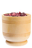 Wooden cup with cedar nuts Stock Photos