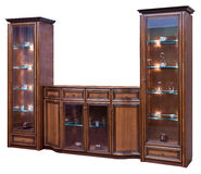 Wooden cupboard with glass doors Stock Image