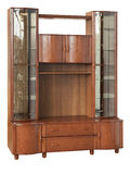 Wooden cupboard with glass doors Stock Images