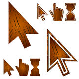 Wooden cursors set. vector illustration Stock Photography