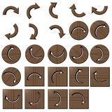 Wooden curve arrow buttons. Wooden arrow curve buttons square and circle Royalty Free Illustration