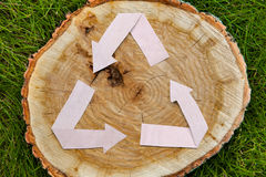 Wooden cut on grass and recycle symbol Stock Photography