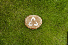 Wooden cut on grass and recycle symbol Stock Photo