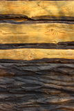 Wooden cut. Light brown boards of wood and bark Royalty Free Stock Photos