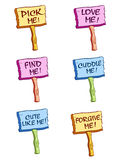 Wooden cute signs. A colorful wooden cute signs Royalty Free Stock Photography