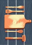 Wooden cutlery, fork, spoon, cutting board, vector illustration. Wooden cutlery, fork and spoon, cutting board, hammer, vector illustration Royalty Free Stock Photo