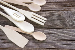 Wooden cutlery set Royalty Free Stock Images