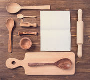 Wooden cutlery set and notebook Stock Photos
