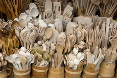 Wooden cutlery sold to tourists in Poland. Wooden cutlery sold to tourists Royalty Free Stock Image