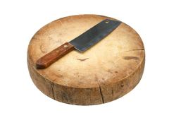 Wooden cutting board and knife Royalty Free Stock Photos