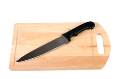 Wooden cutting board and knife Stock Photography