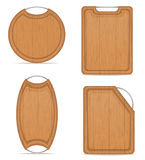 Wooden cutting board with metal handle vector illustration. On white background Stock Photo