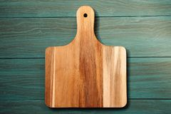 Wooden cutting board, tray. On table stock images