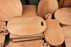 Wooden cutting boards. Natural wooden cutting boards closeup Royalty Free Stock Image