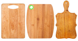 Wooden cutting boards. On white background Royalty Free Stock Photo