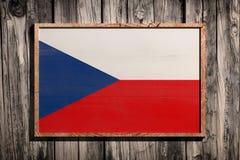 Wooden Czech Republic flag. 3d rendering of Czech Republic flag on a wooden frame over a planks wall Stock Photography