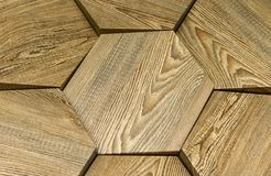 Wooden 3D panel in a modern interior. 3D wooden background stock image