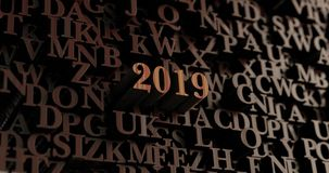 2019 - Wooden 3D rendered letters/message. Can be used for an online banner ad or a print postcard Royalty Free Stock Image