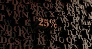 25% - Wooden 3D rendered letters/message Royalty Free Stock Photography