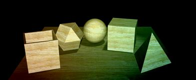Wooden 3D shapes in a dark place. Abstract background to create banners, covers, posters, cards, etc Stock Images