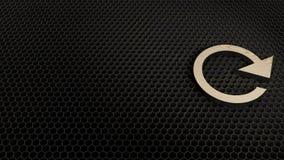 Wooden 3d symbol of refresh arrow icon render. Laser cut wooden 3d clockwise symbol of refresh arrow render on metal honeycomb inside laser engraving machine stock illustration