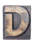 Wooden D typeface Royalty Free Stock Photography