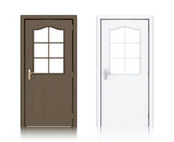 Wooden dark brown and white painted doors. Royalty Free Stock Photos