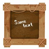 Wooden dark frame fastened together with ropes Royalty Free Stock Photography
