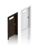 Wooden dark gray and white painted doors. Royalty Free Stock Photos