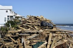 Wooden debris from Hurricane Matthew, Vilano Beach, Florida Royalty Free Stock Image