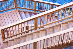 Wooden deck. New wooden deck and stairs on the beach royalty free stock images