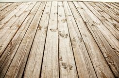 Wooden deck. Close up shot of old wooden deck royalty free stock photo