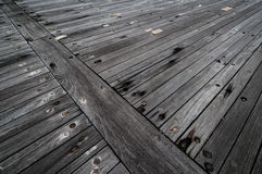 The wooden deck of a battleship. Royalty Free Stock Image