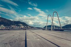 Wooden Deck in Bergen royalty free stock image
