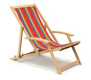 Wooden deck chair. Colorful wooden deck chair on white background - 3D illustration Stock Image