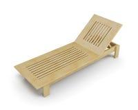 Wooden deck chair. 3d illustration. Stock Photos