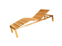 Wooden deck chair isolated Stock Photography