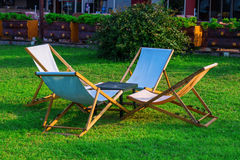 Wooden deck chairs Royalty Free Stock Image