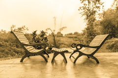 Wooden Deck Chairs Stock Image
