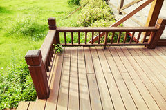 house wooden deck wood outdoor backyard patio in garden Royalty Free Stock Images