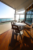 Wooden deck of cruise ship Royalty Free Stock Photo